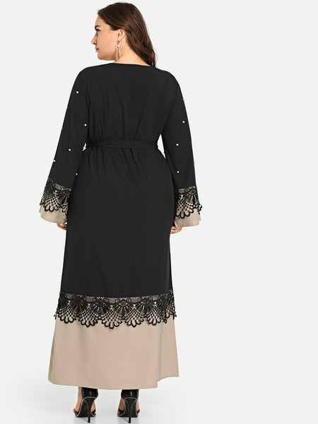Desi Style Plus Pearl Beaded Contrast Lace Dress