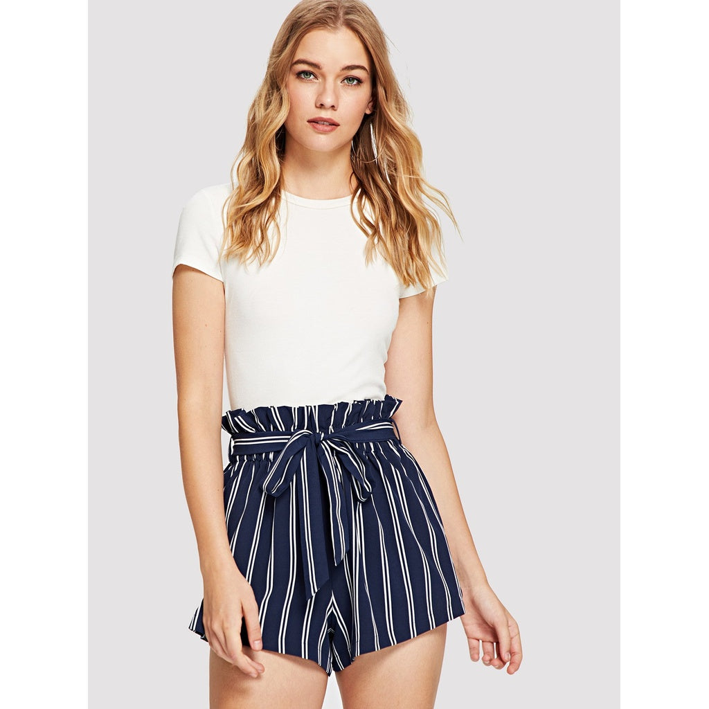 Italian Style Belted Ruffle Waist Striped Shorts