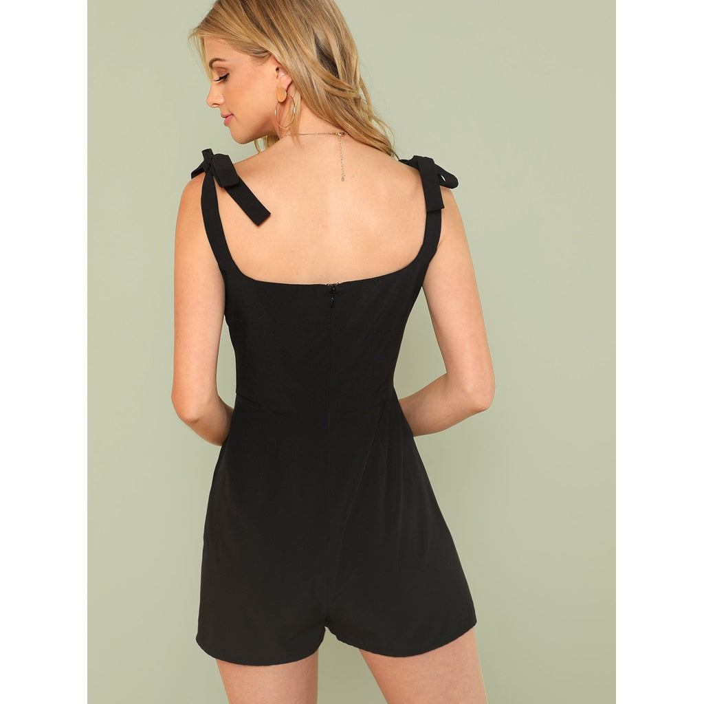 New Stylish V Cut Solid Romper With Tied Strap