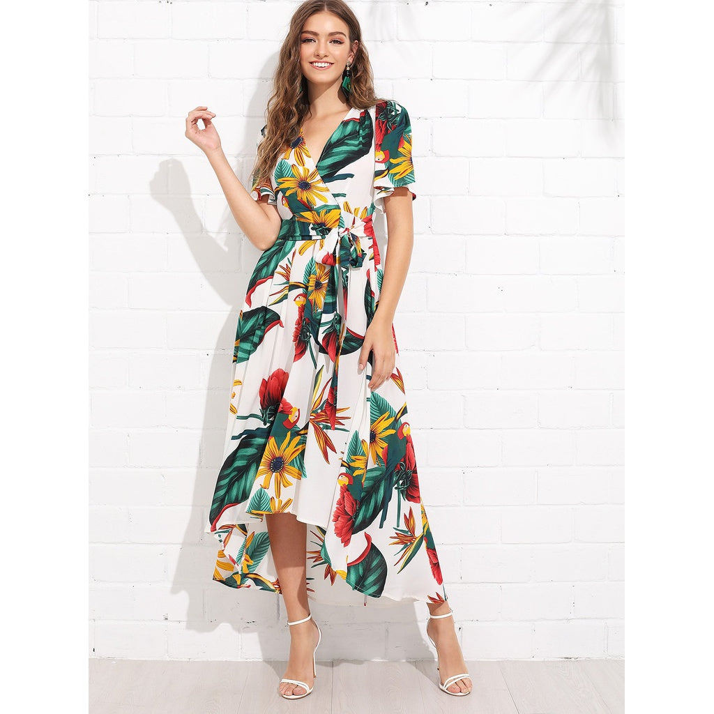 Stylish Trumpet Sleeve Surplice Neck Floral Dress