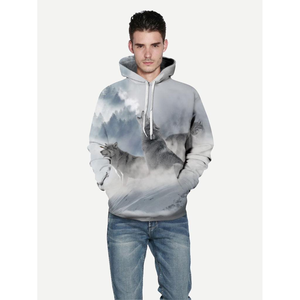 Men Wolf 3D Style Hooded Sweatshirt
