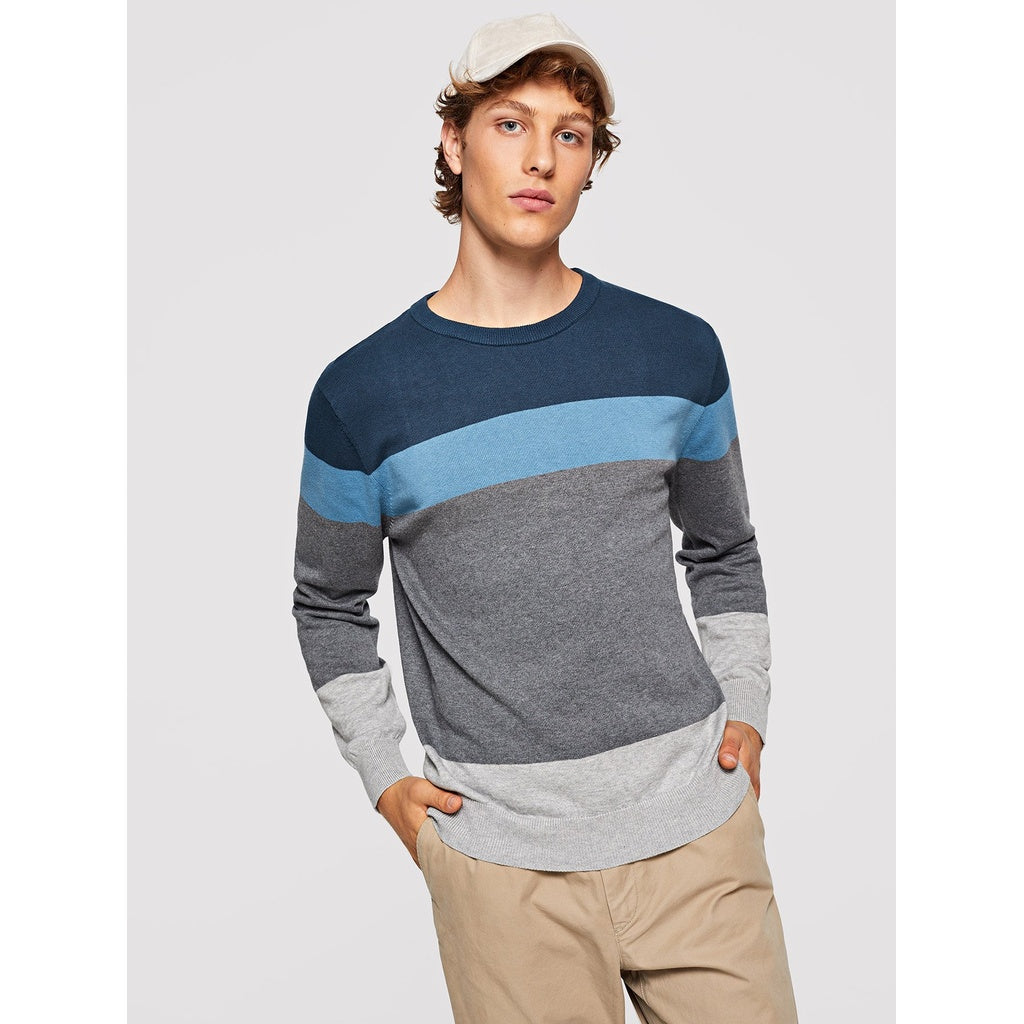 Casual Men Color Block Round Neck Sweater