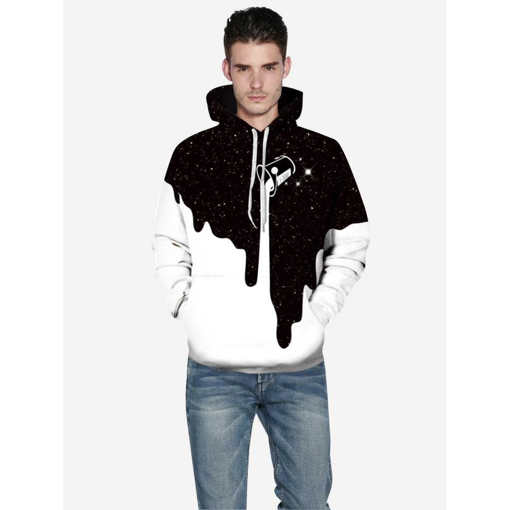 New Men 3D Paint Style Hooded Sweatshirt