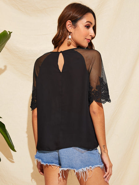 Embroidered Mesh Sleeve Pleated Keyhole Neck Top