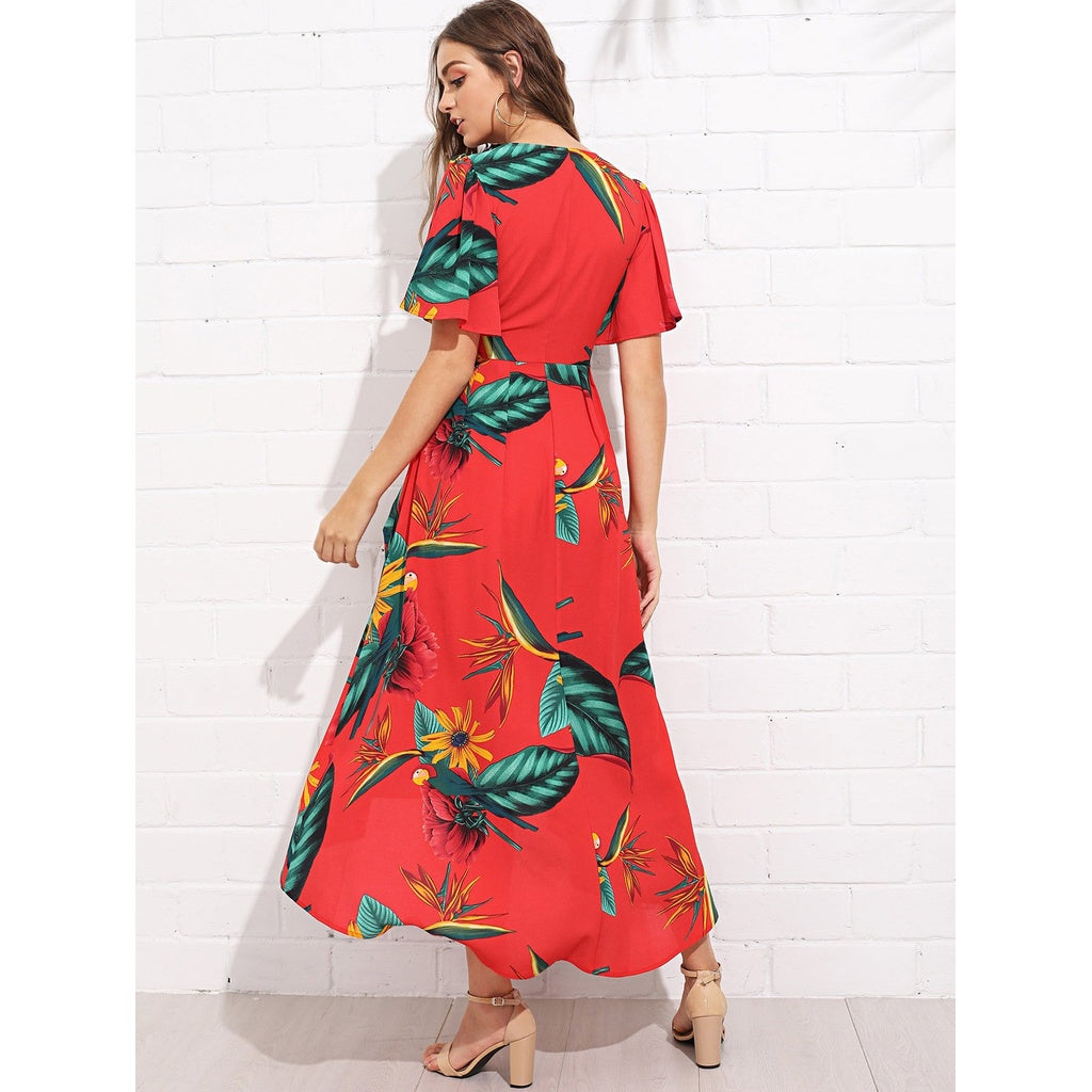 Stunning Trumpet Sleeve Surplice Neck Floral Dress - BrandsGuru