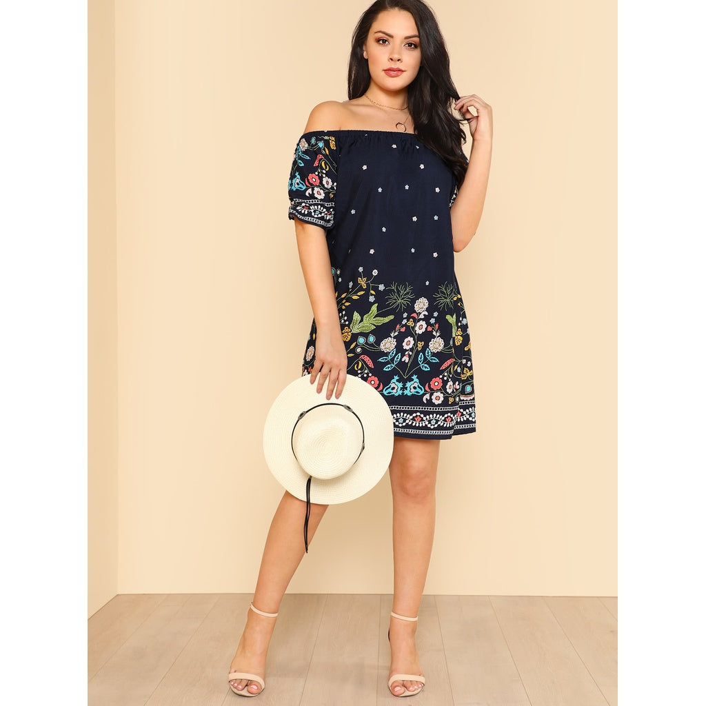New Unique Botanical Print Off Shoulder Dress