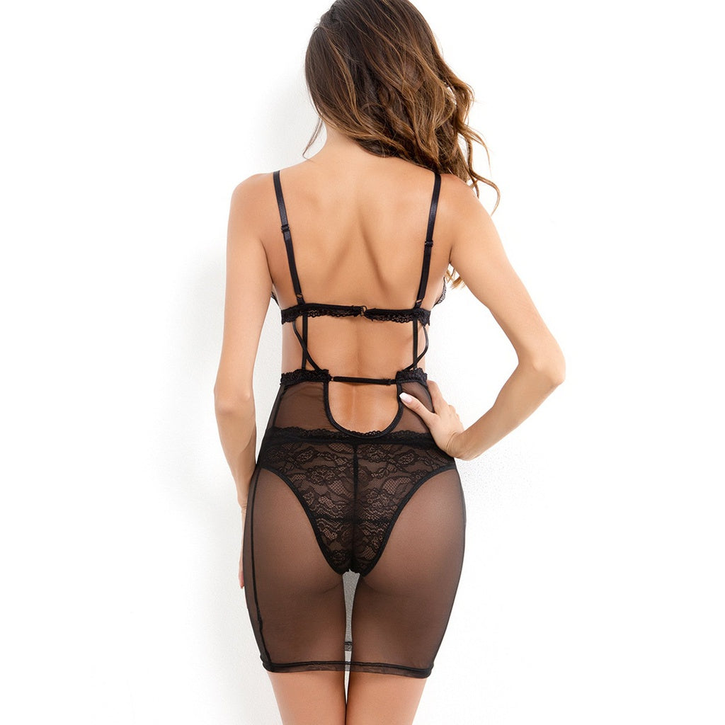 Exotic Style Contrast Lace Slips With Thong
