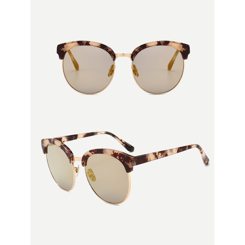 Trendy Marble Design Frame Mirror Lens Sunglasses