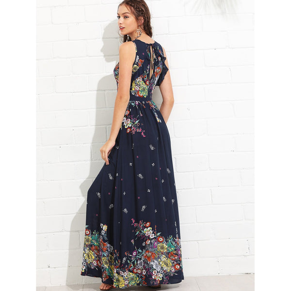 Gorgeous Knot Back Ruffle Trim Botanical Maxi Dress - BrandsGuru