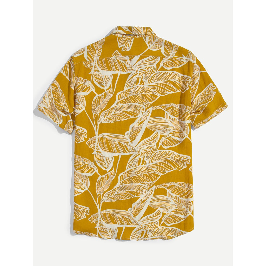 Men Leaf Summer Beach Style Shirt