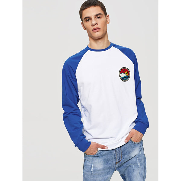 Men Embroidered Applique Raglan Sleeve Sweatshirt