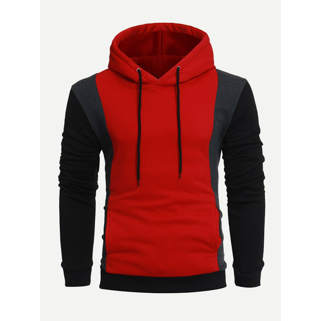 Men Cut And Sew Panel Hooded Sweatshirt