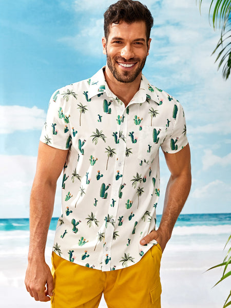 Men Cactus Print Pocket Front Shirt - BrandsGuru