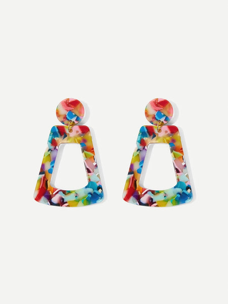 Multi Color Style Geometric Drop Earrings