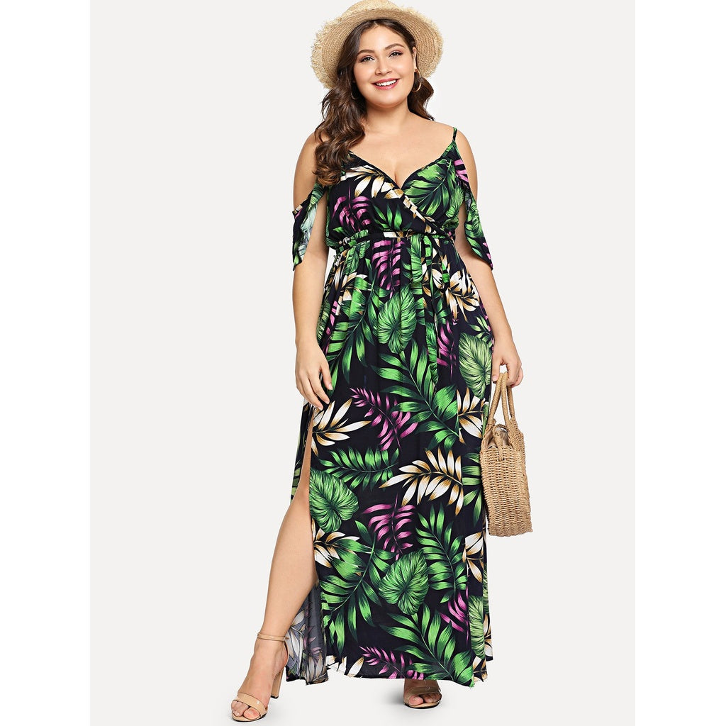 Plus Cold Shoulder Slit Hem Botanical Dress