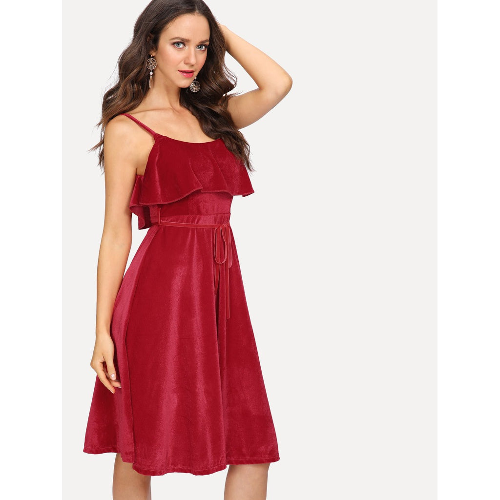 New Sizzling Velvet Ruffle Layered Cami Dress