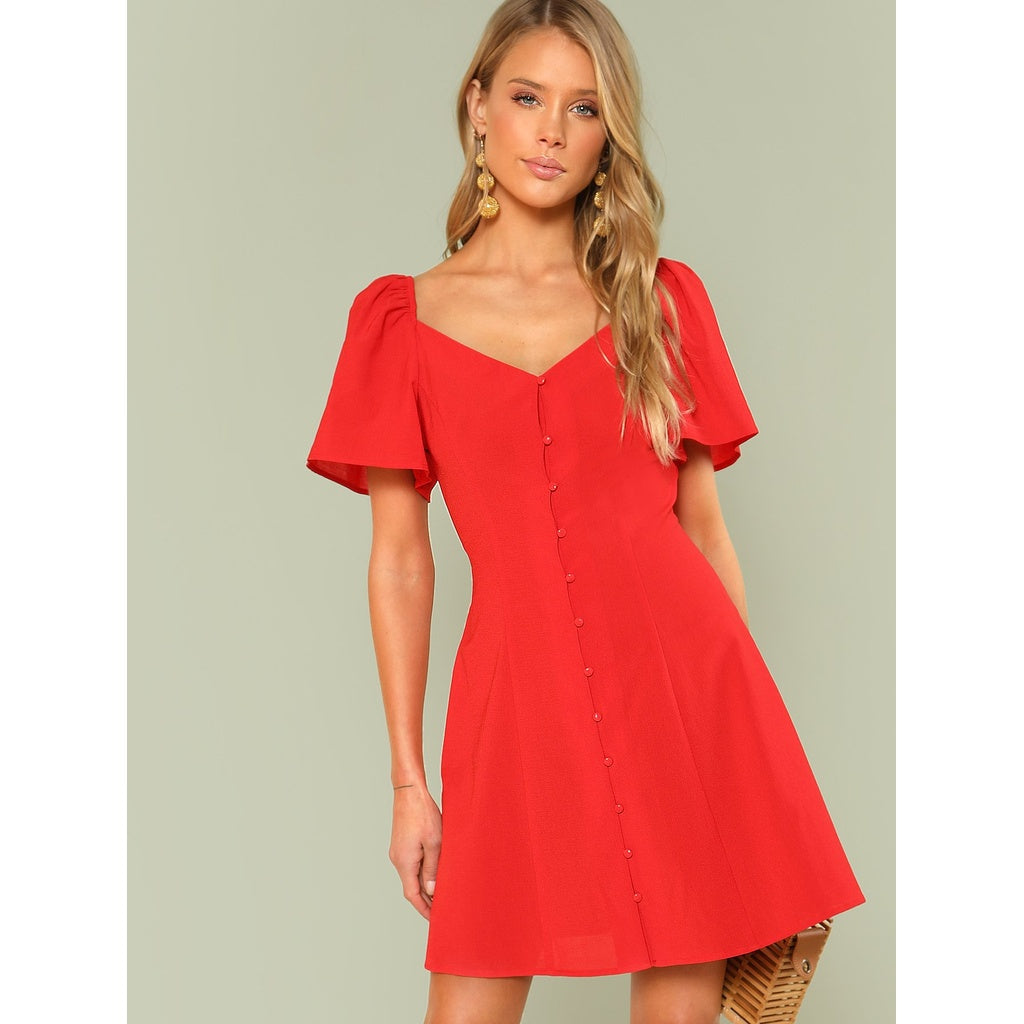 Exotic New Bishop Sleeve Button Up Dress
