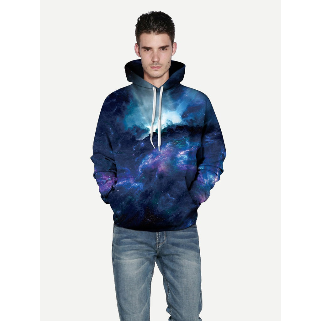 New Trendy Men Abstract Sky Style Hooded Sweatshirt