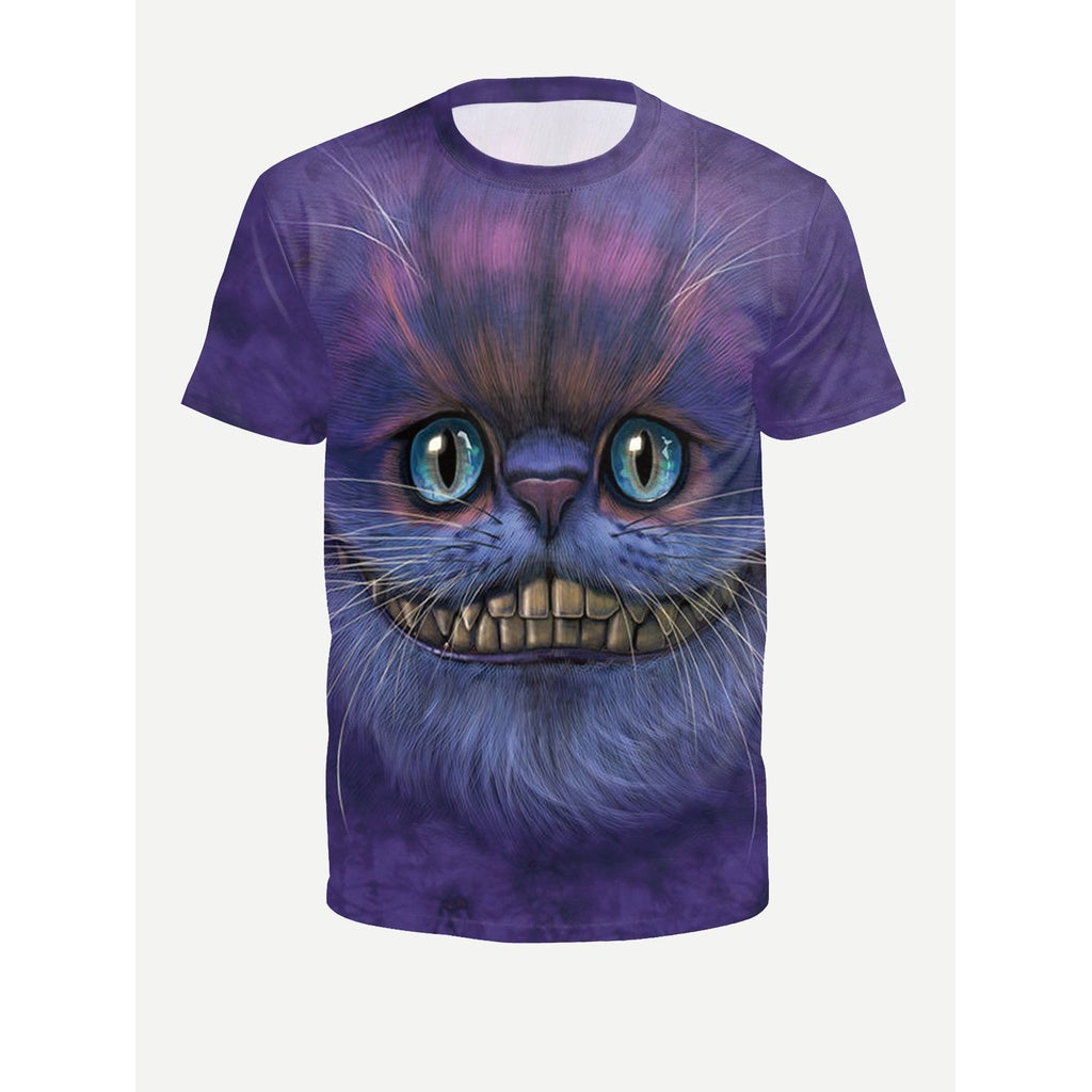 Men 3D Cat Style Tie Dye T- Shirt