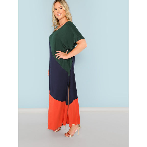 Casual Plus Cut and Sew Split Hem Dress