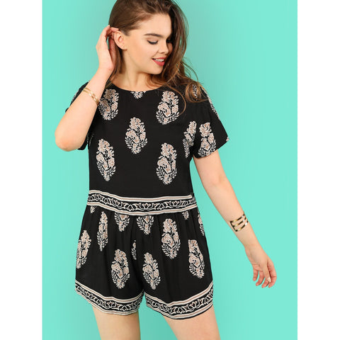 Plus Tribal Print Top and Shorts Set