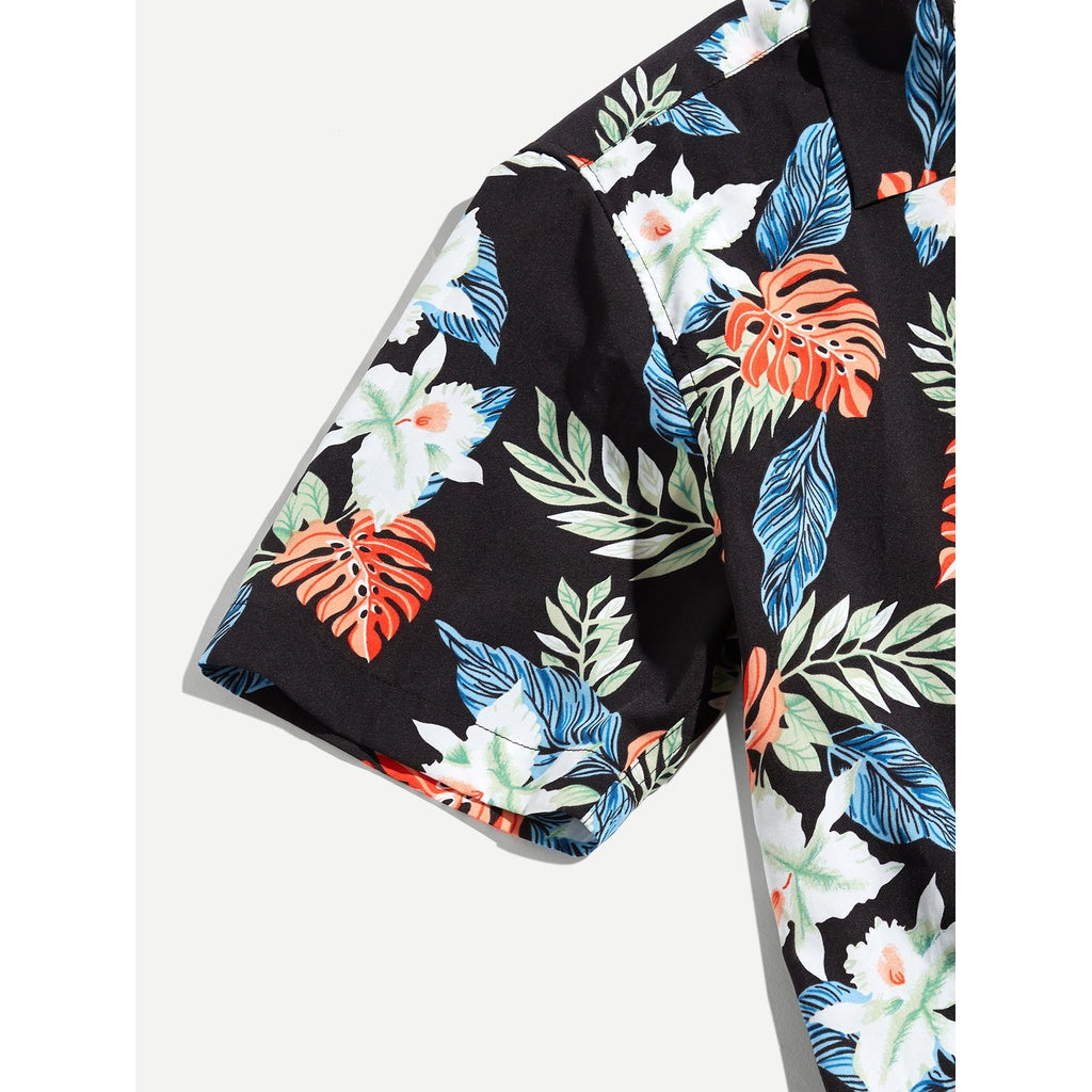 Men Hawaii Tropical Shirt Top