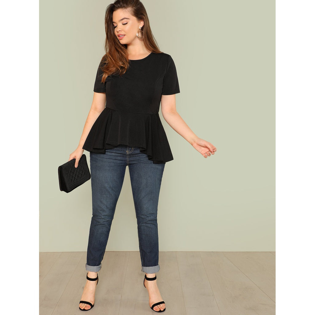 Plus Gorgeous Ruffle Hem Solid Top