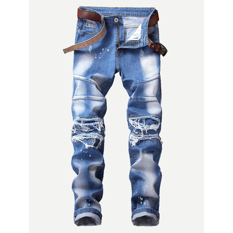 New Men Paint Splatter Style Jeans