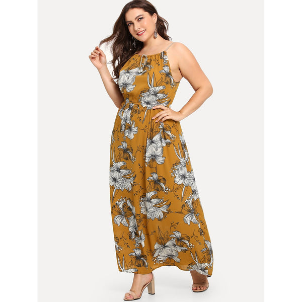 Sublime Floral Print Drawstring Ruched Waist Dress