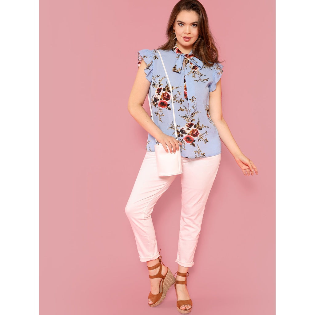 New Plus Tie Neck Floral Ruffle Blouse