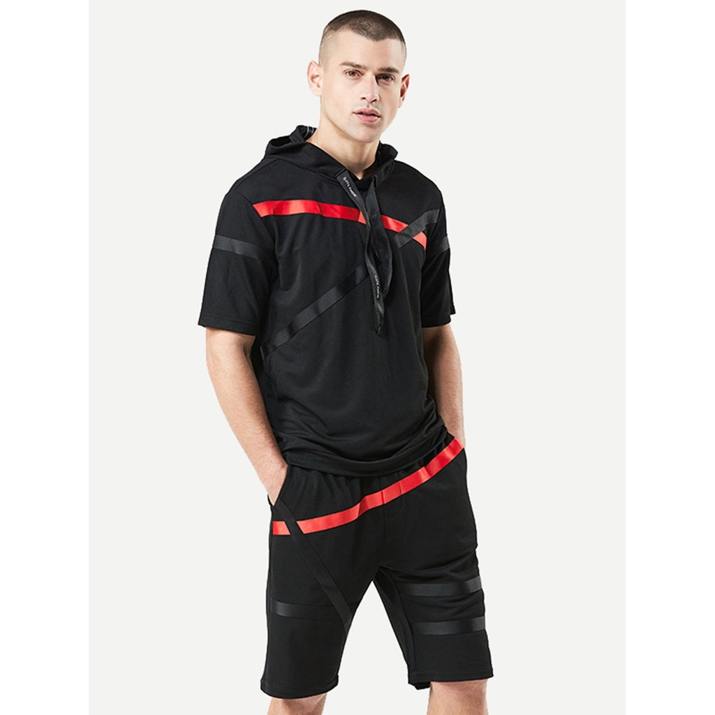 New Popular Men Tape Style Hooded Tee With Drawstring Shorts