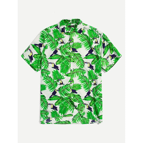 Men Exotic Summer Tropical Beach Button Front Shirt