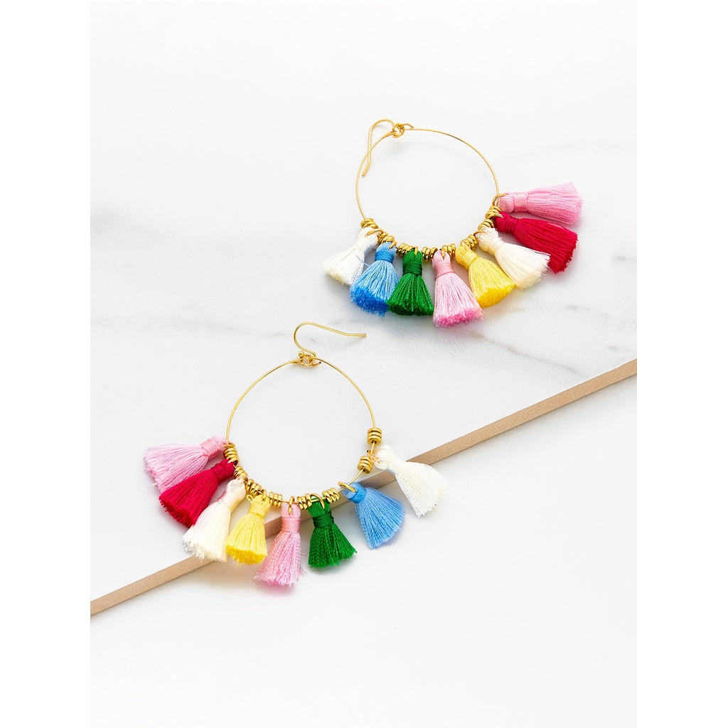 Multi Color Mini Tassel Hoop Earrings