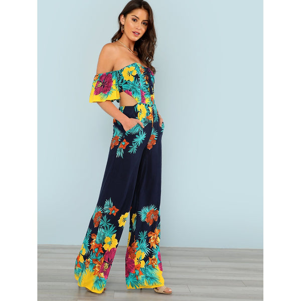 New Sublime Flounce Layered Knotted Back Flare Hem Jumpsuit - BrandsGuru