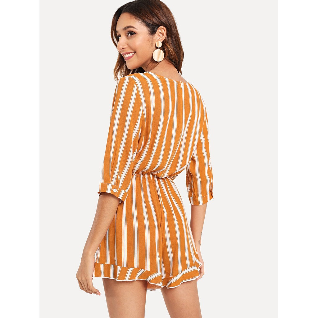 Sizzling New Ruffle Detail Warp Striped Jumpsuit