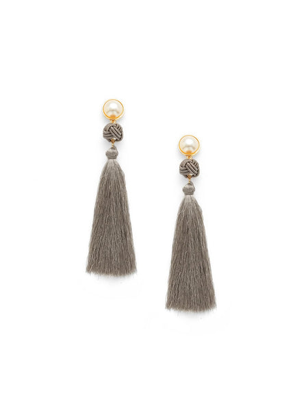 Boho Faux Pearl Top Tassel Drop Earrings
