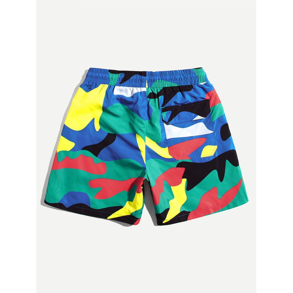 Men Camo Design Pocket Attach Shorts
