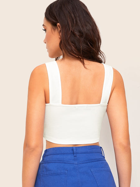 Summer Casual Hem Crop Top