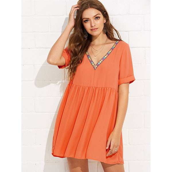 New Pretty Embroidery Tape Neck Cuffed Smock Dress