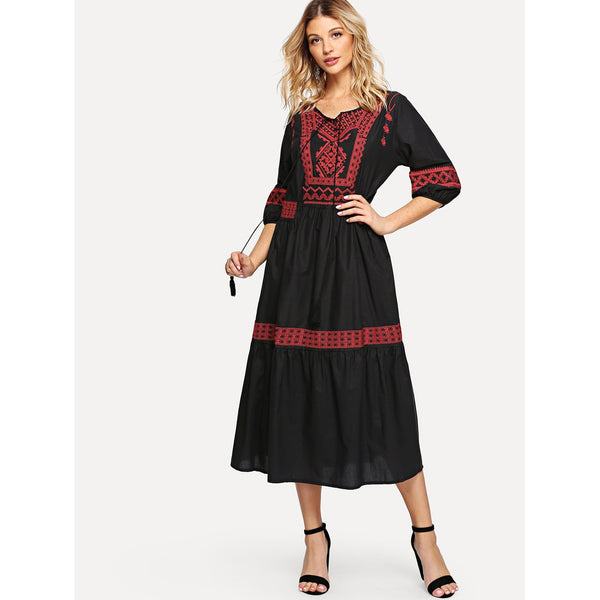 New Tassel Desi Style Embroidered Dress - BrandsGuru
