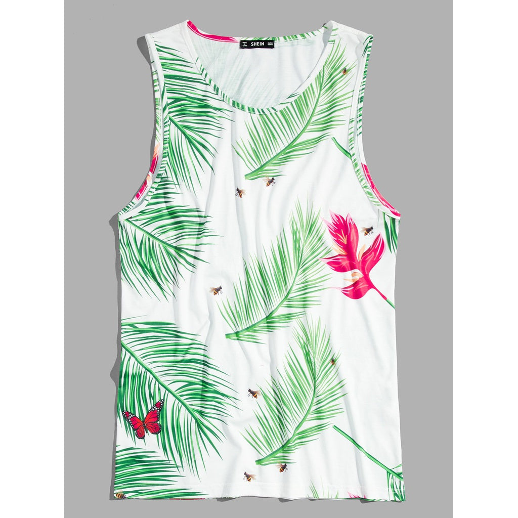 Men Miami Tropical Beach Tank Top