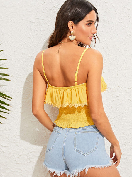 Lace Trim Summer Style Front Shirred Top