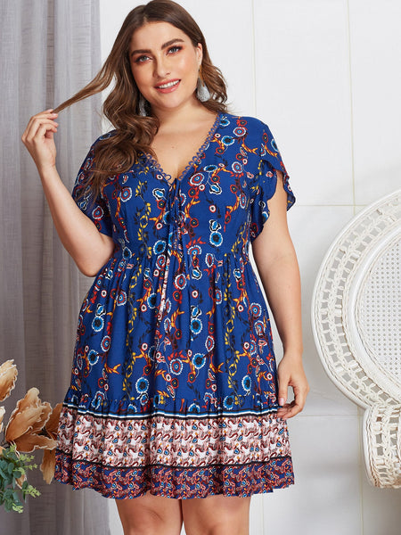 Elegant Plus Size Floral Knot Dress
