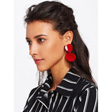 New Casual Style  Asymmetrical Double Flake Drop Earrings