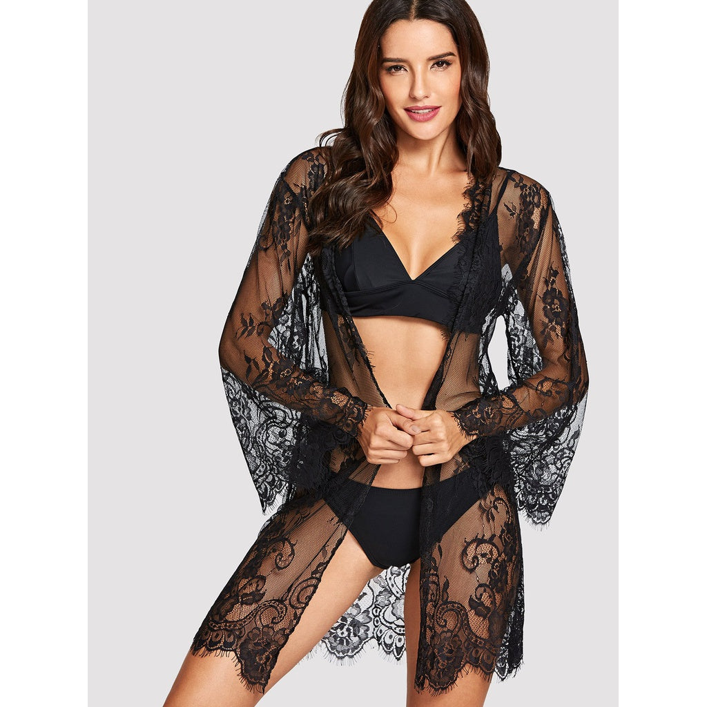 Sexy Floral Lace Robe With Thong