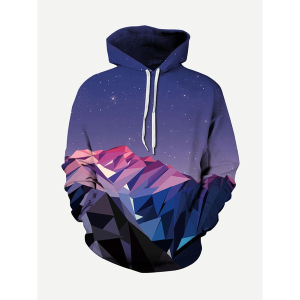 Men 3D Galaxy Design Style Hooded Sweatshirt