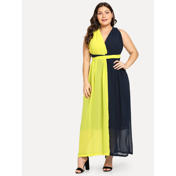 Trendy Plus Criss Cross Color Block Shell Dress - BrandsGuru