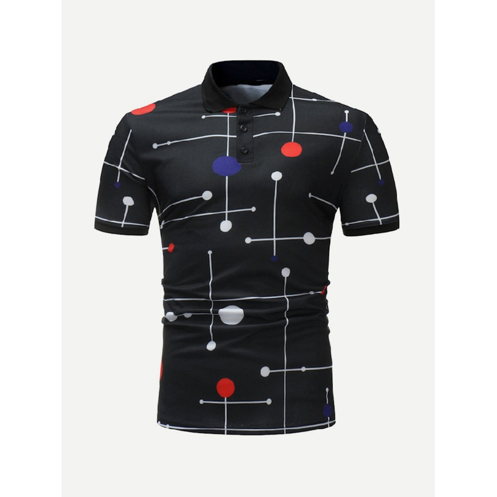 Men Geometric Unique Design Polo Shirt
