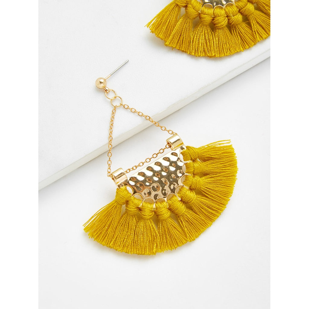 Sublime Mini Tassel Fan Shaped Earrings