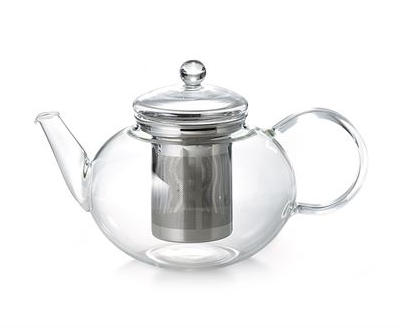 Glass teapot 1.2 litres with stainless steel infuser from High teas